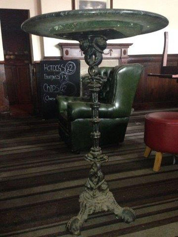 Vintage Marble Topped Cast Iron High Bar Table