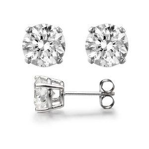14K White Gold Round Cut Diamond Stud Earring 0.42Ct Total Weights $950.00