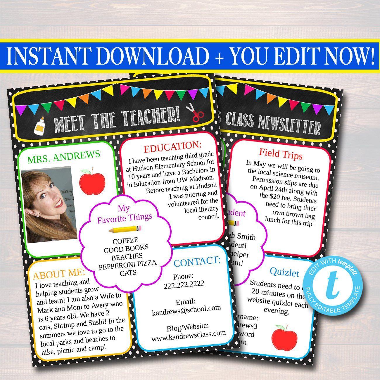 Editable Newsletter Template Instant Download Teacher Newsletter Event Newslet Parent Communication Forms Editable Newsletter Templates Parent Communication Parent newsletter template for teachers