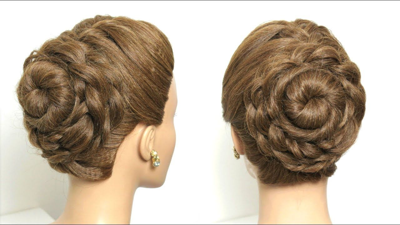 flower bun hairstyle for long hair tutorial. easy updo