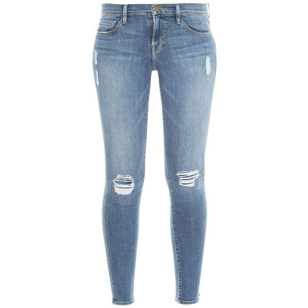 Frame Denim Le Skinny Jeans (€95) ❤ liked on Polyvore featuring jeans, denim skinny jeans, torn jeans, destructed jeans, vintage jeans and frame jeans
