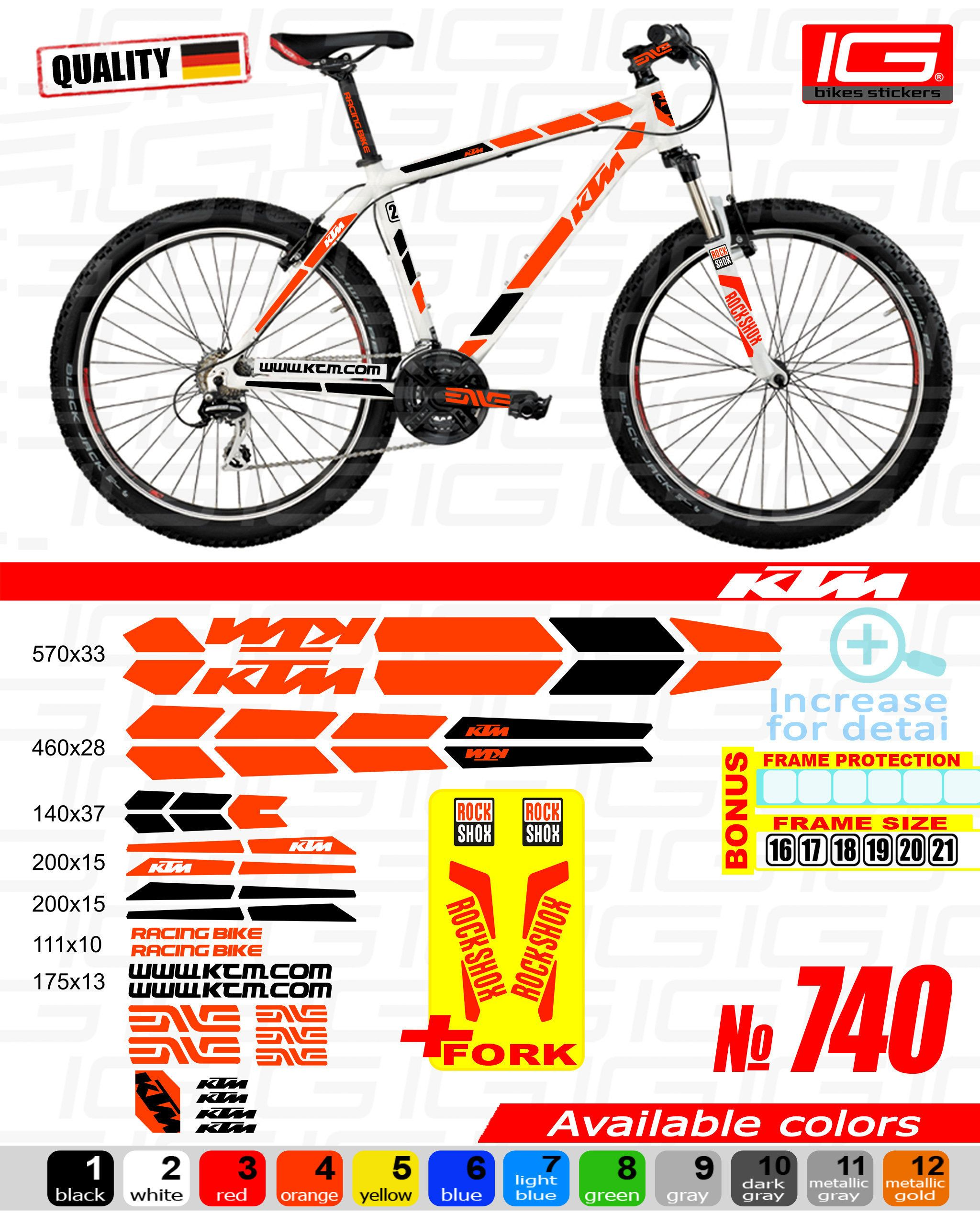 KONA bike stickers bike frame sticker set ALL COLORS AVAILABLE fork