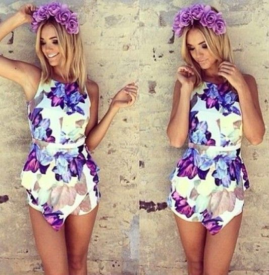 dacdc3601722 Womens Flower Print Exaggerated Flounced Summer Beach Playsuit Jumpsuits on  Luulla