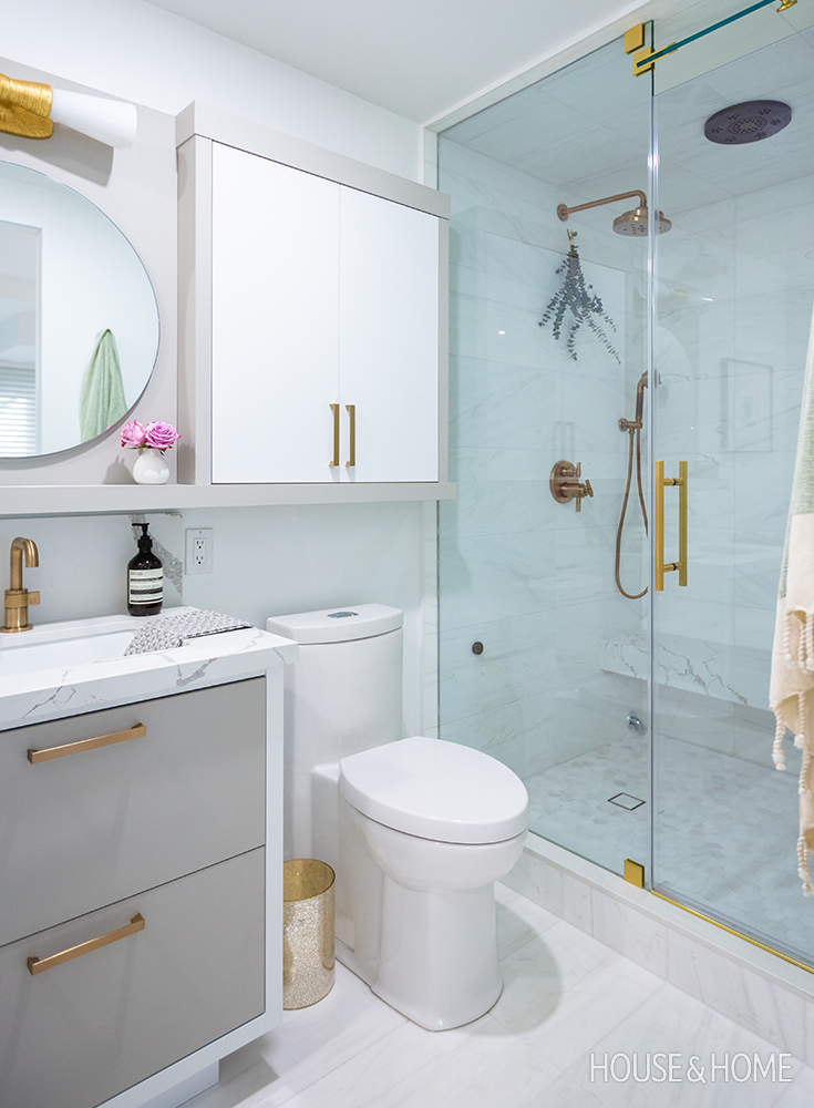 who knew a small condo bathroom could look so luxe in
