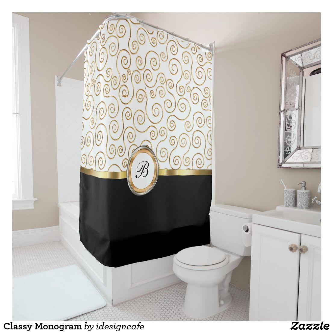 Classy Monogram Shower Curtain Zazzle Com Shower Curtain