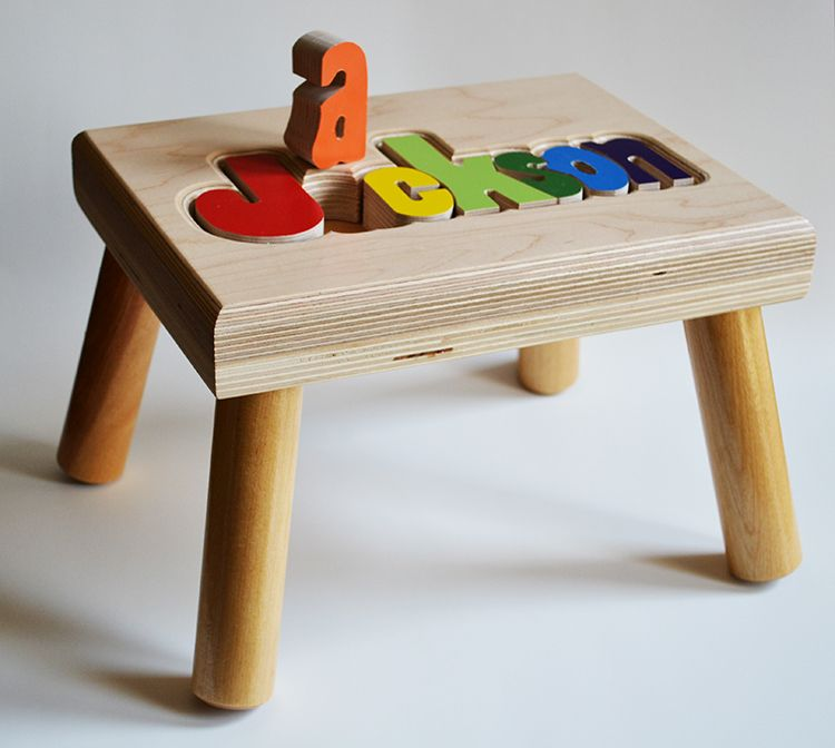 Maple puzzle name stool stools learning tower and babies maple puzzle name stool personalized puzzlespersonalized baby giftsstep negle Gallery