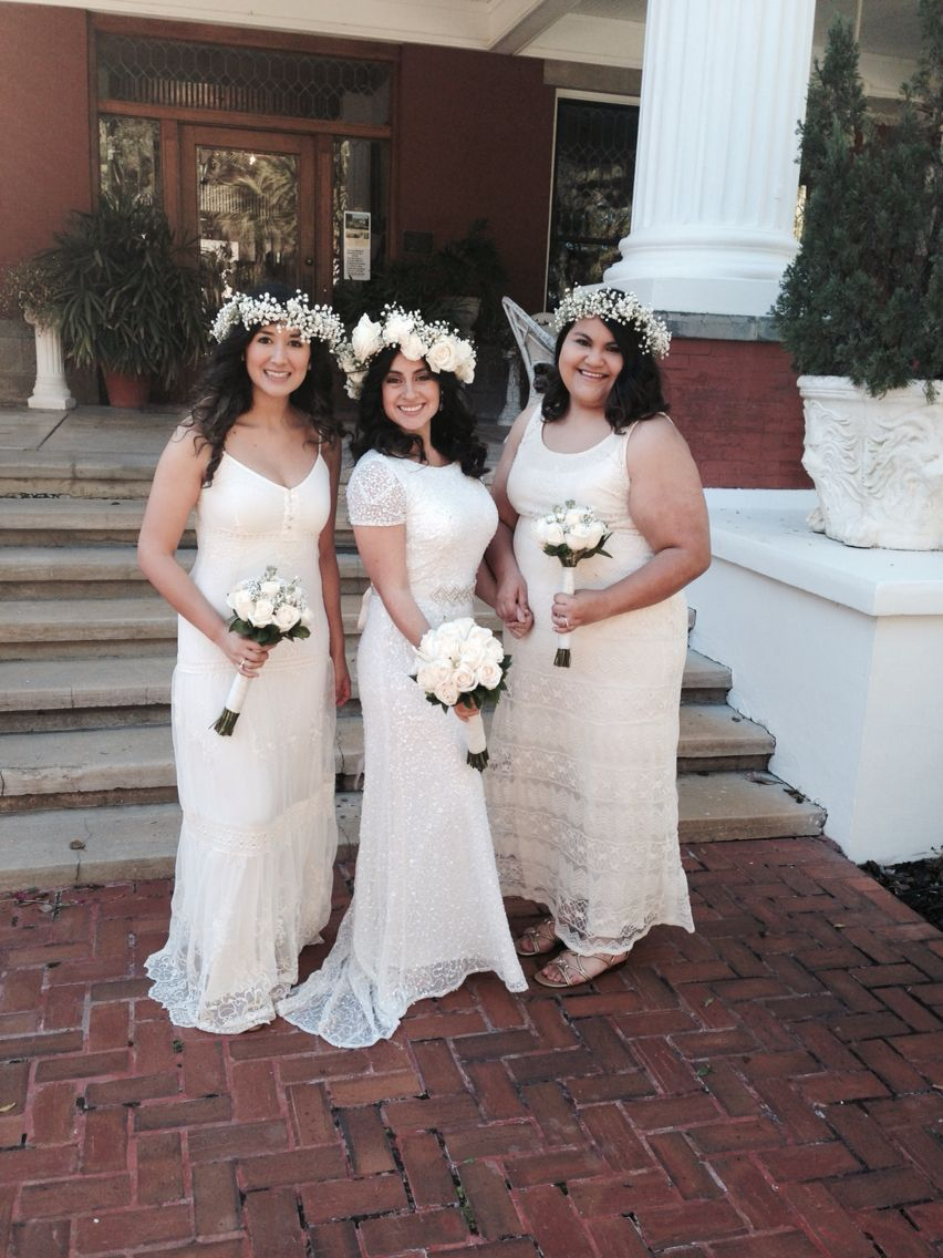 Boho wedding bride with bridesmaids boho bohemian white long