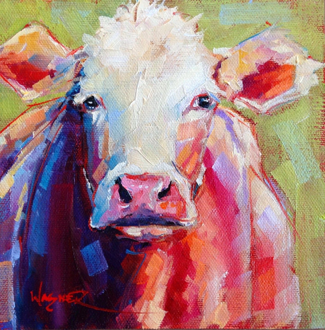 Kuh Malen Olga Paints Sold Contemporary Cow Painting In Oils By