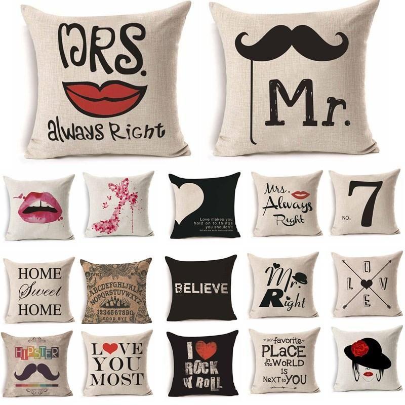 Women Men Mr Mrs Love Lip Pattern Cotton Linen Throw Pillow Cushion Cover  Car Home Sofa Decorative Pillowcase 40246 68c7a959b