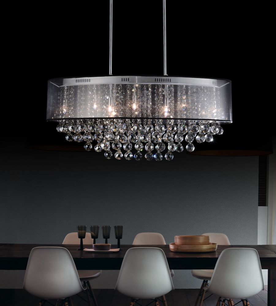 Oval 26 Inch Pendent Chandelier with Black Shade Home Depot.ca ...