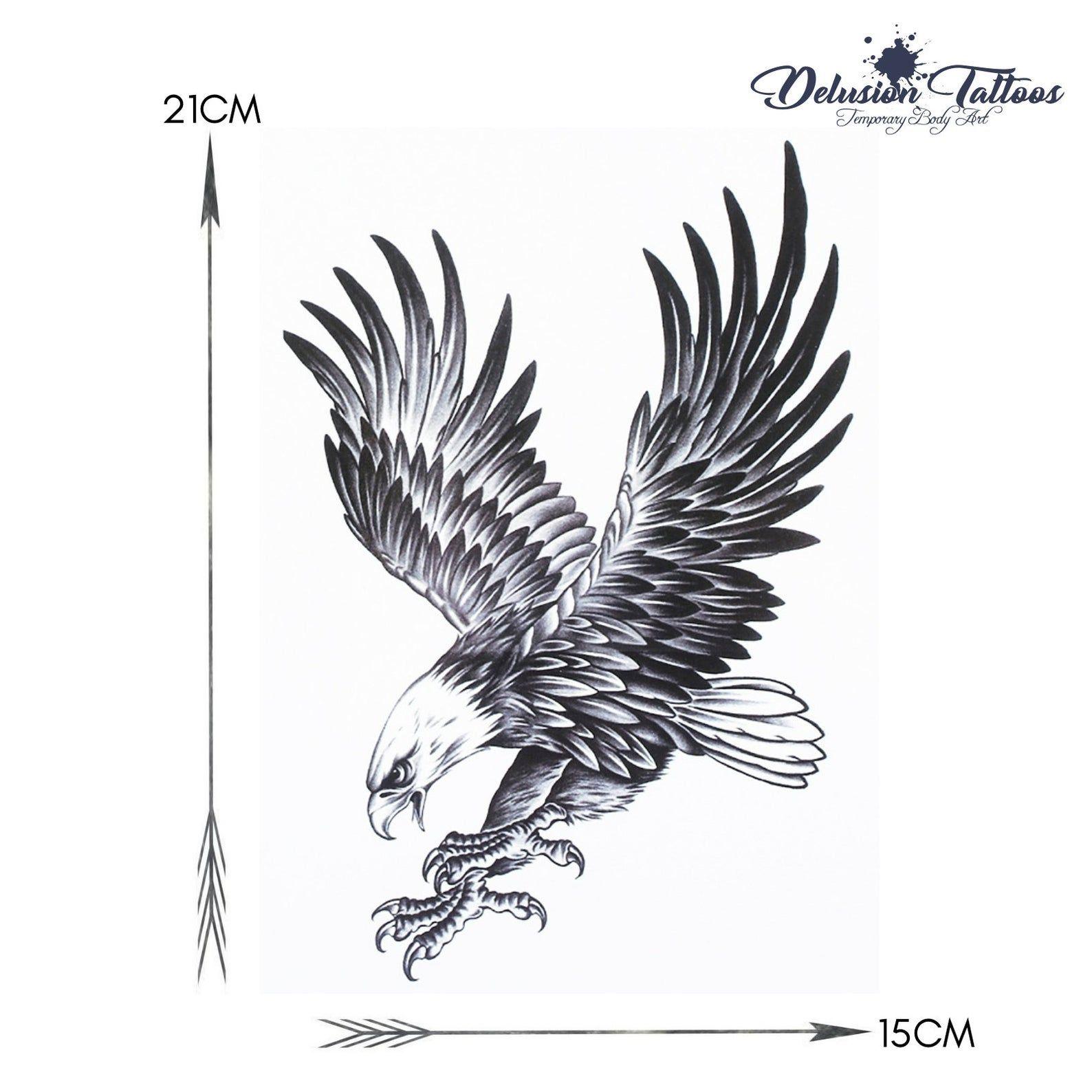 Eagle temporary tattoo shoulder half sleeve bald eagle