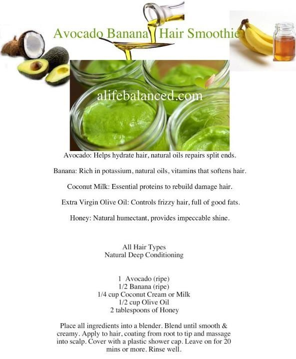 Avocado Hair Treatment for Natural Hair | Avocado Banana Hair Smoothie - Dry, brittle or frizzy hair? Try this ...