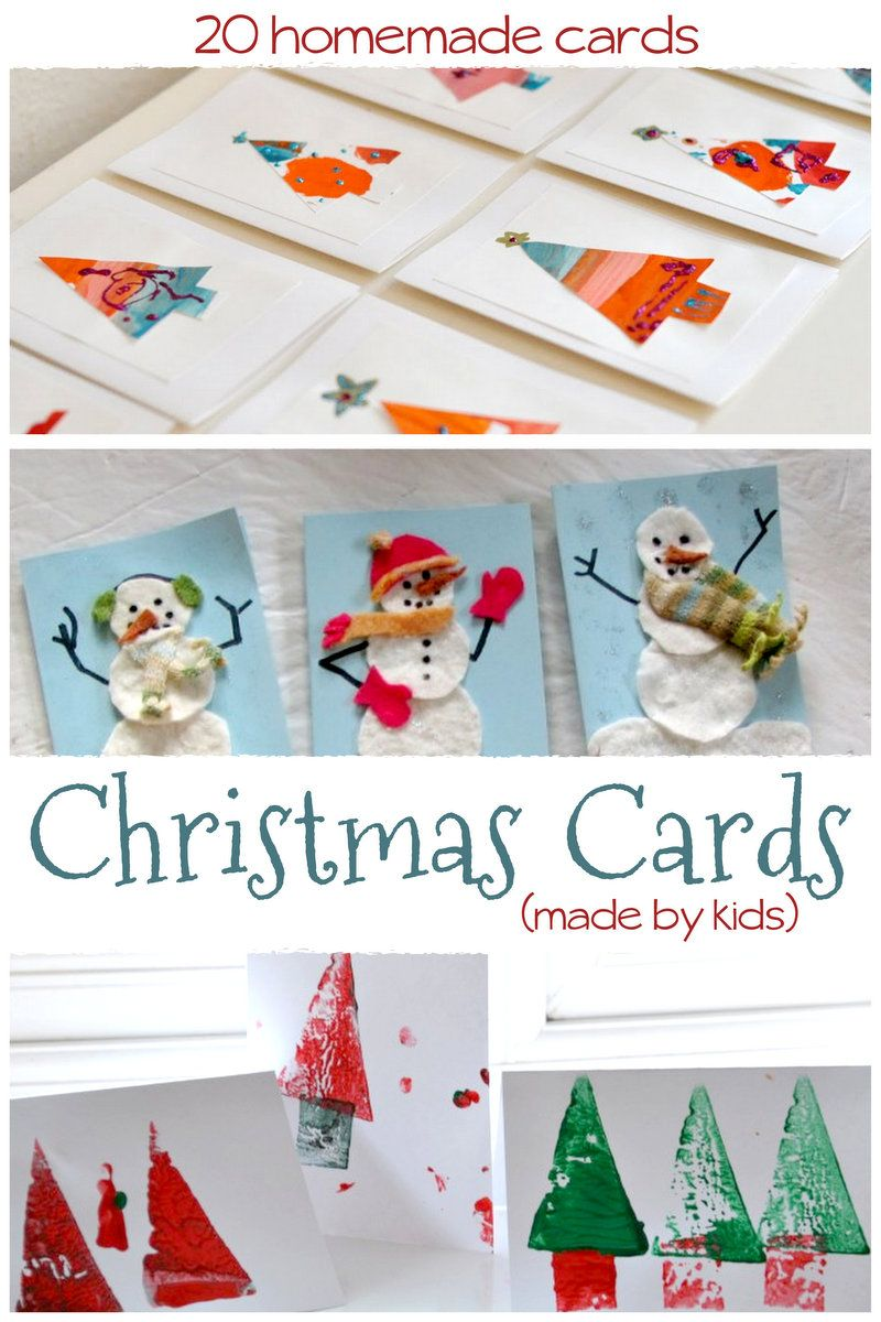 20 Homemade Christmas Cards Made by the Kids Homemade