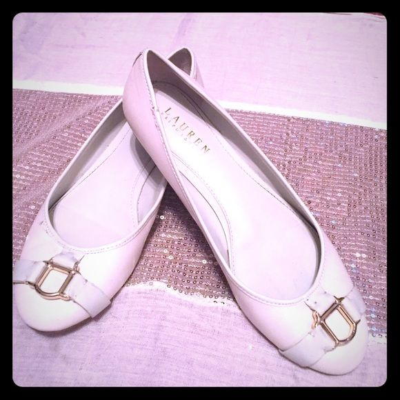 Ralph Lauren Flats Creme flats with buckle details with Ralph Lauren logos Ralph Lauren Shoes Flats & Loafers