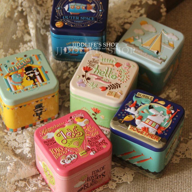 Christmas Tin Trinket Box Tinplate Storage Case Small Rectangular New fashion