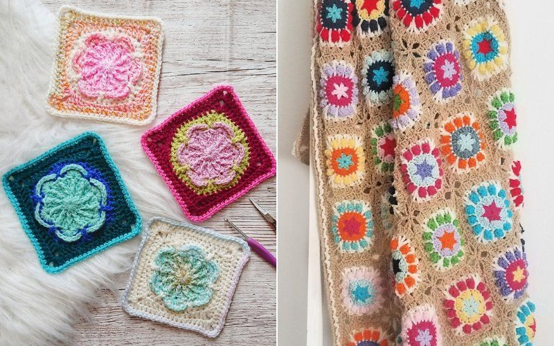 Floral Granny Squares Free Crochet Patterns