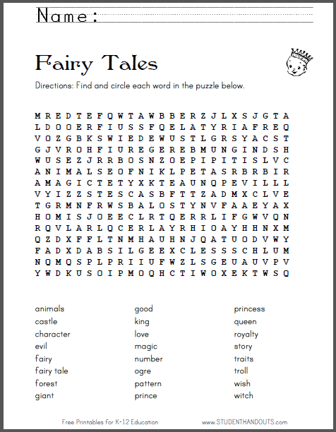 fairy tale terms word search puzzle free to print features 24 words ela english language. Black Bedroom Furniture Sets. Home Design Ideas