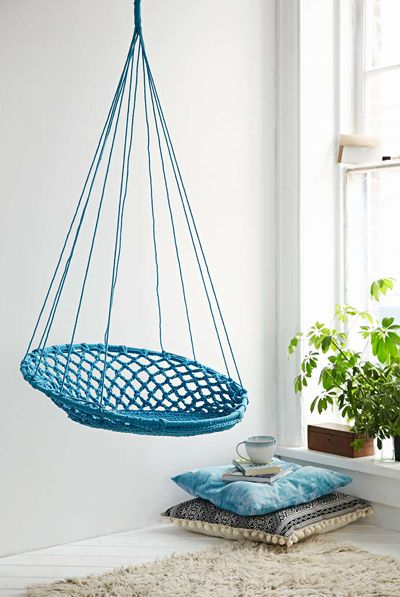 Curl Up In This Woven Turquoise Cuzco Hanging Chair. Circular Macramé  Silhouette With A Looped Top   Hang It From A Sturdy Hook Indoors Or Out.  $198.