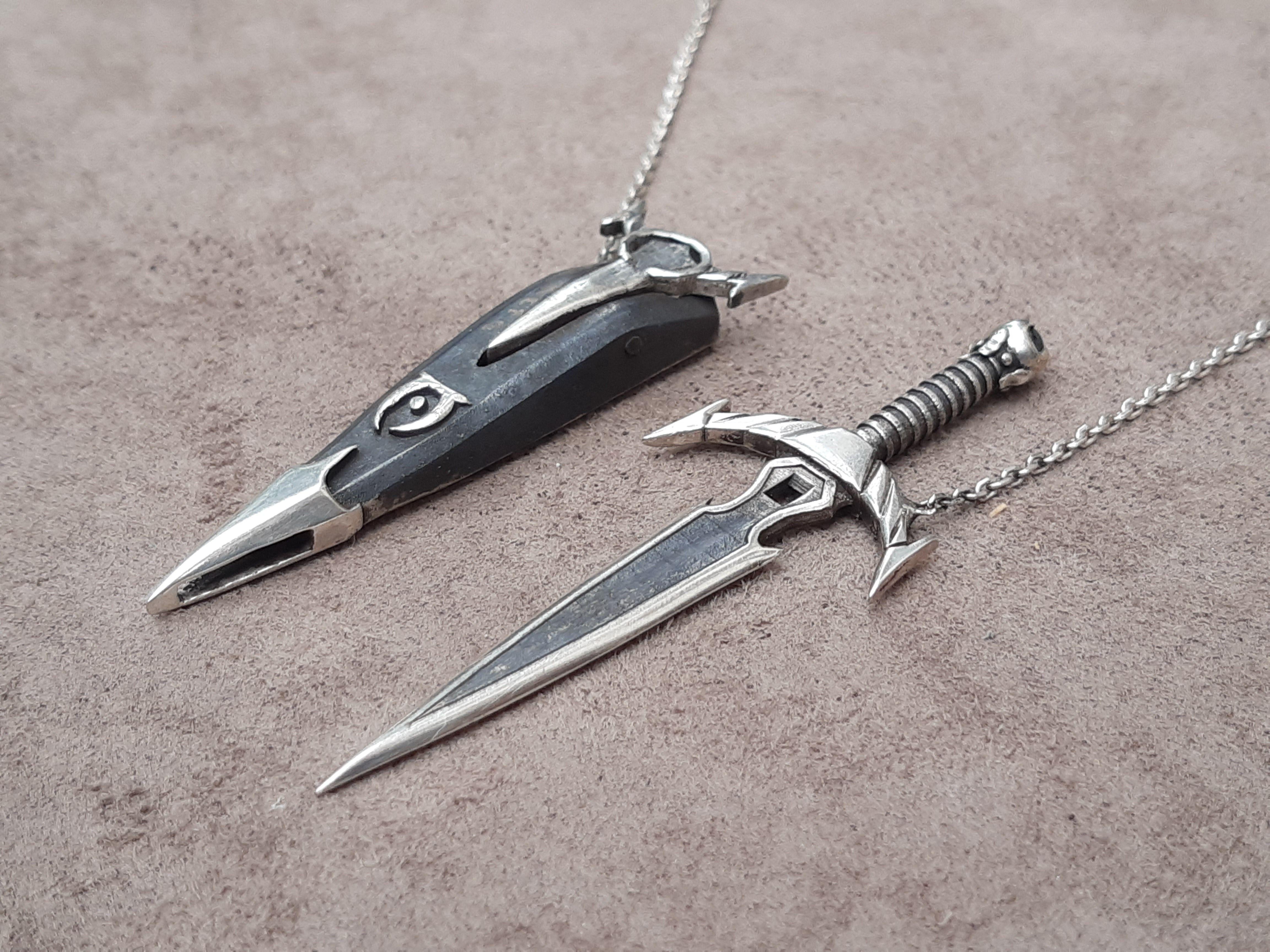 Sword Necklace Skyrim 925 Silver Skyrim Dagger Pendant Dagger Skyrim Dagger Jewelry Skyrim Jewelry 14K Gold Skyrim Sword Necklace