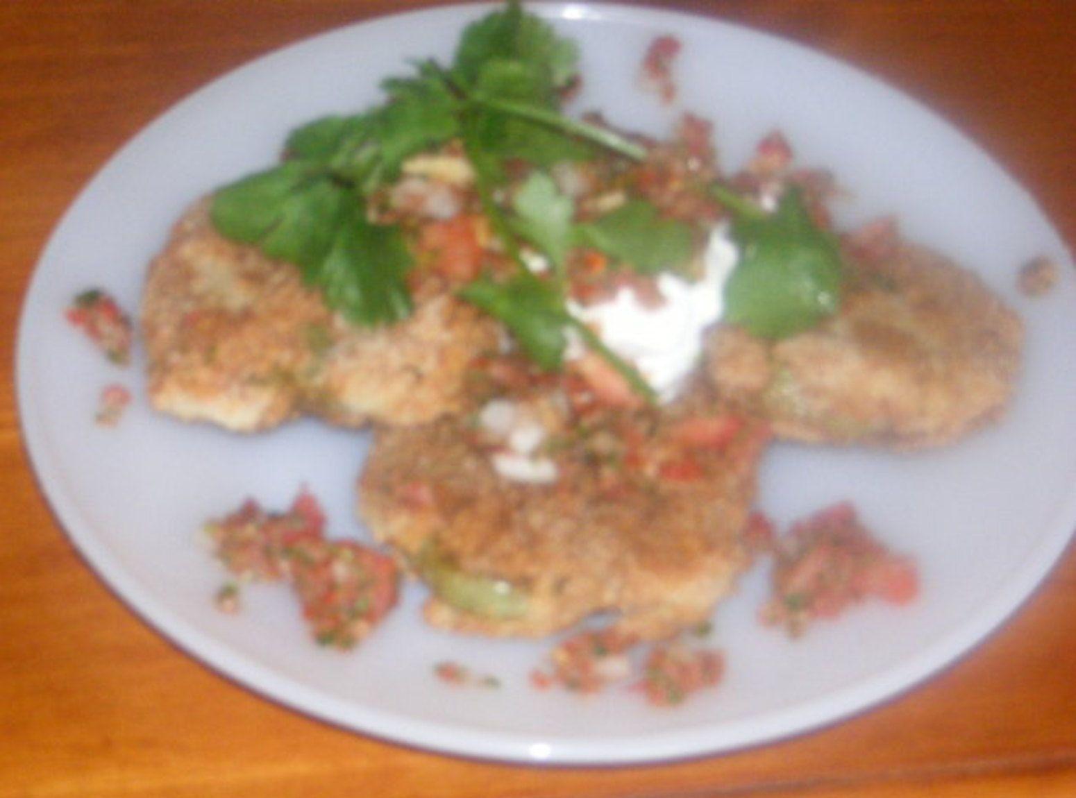 Yum... Id Pinch That!   Smokey Fried Green Tomatoes With Fresh Garden Salsa