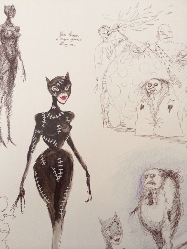 Burton's sketches of Catwoman and Penguin