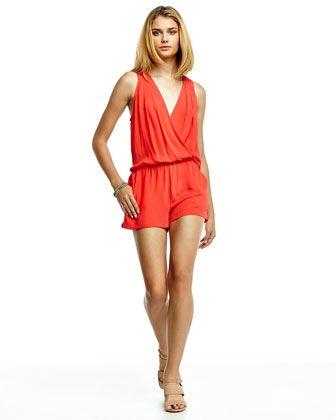 1aaa9782aab BCBGMAXAZRIA Thalia Georgette Short Jumpsuit (Bright Poppy-S) RETAIL  168  SALE  84
