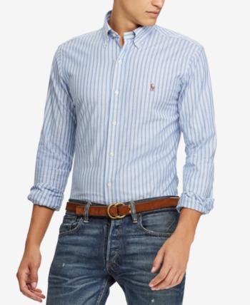b4aaabe28 Polo Ralph Lauren Men s Slim Fit Stretch Oxford Shirt - Blue Multi white XXL