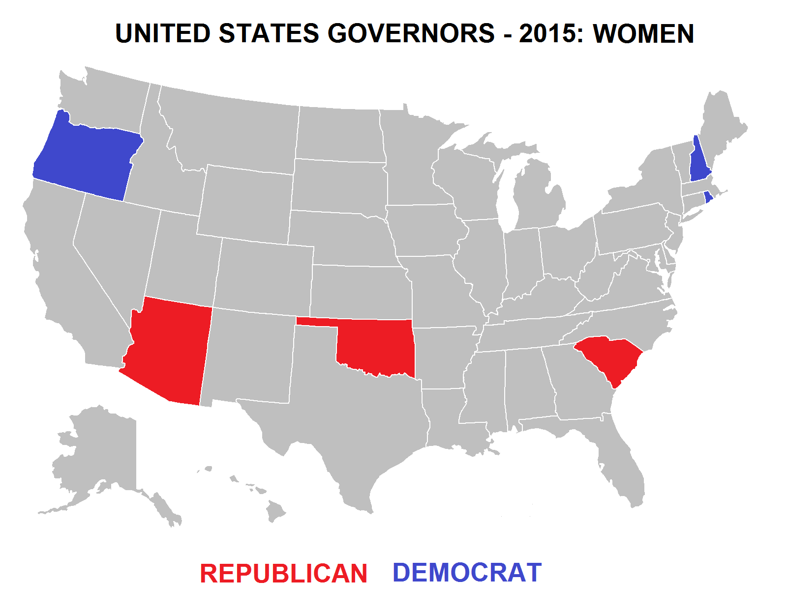 United States Governors  Women In Office By Political Party - Map us governors