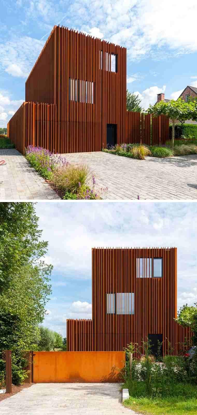 Moderne Und Einzigartige Häuser Mit Außen In Stahl Gekleidet #einzigartige  #gekleidet #hauser #moderne #stahl