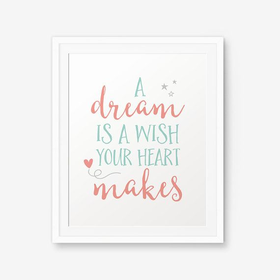 A Dream Is A Wish Your Heart Makes Coral And Mint Decor Nursery