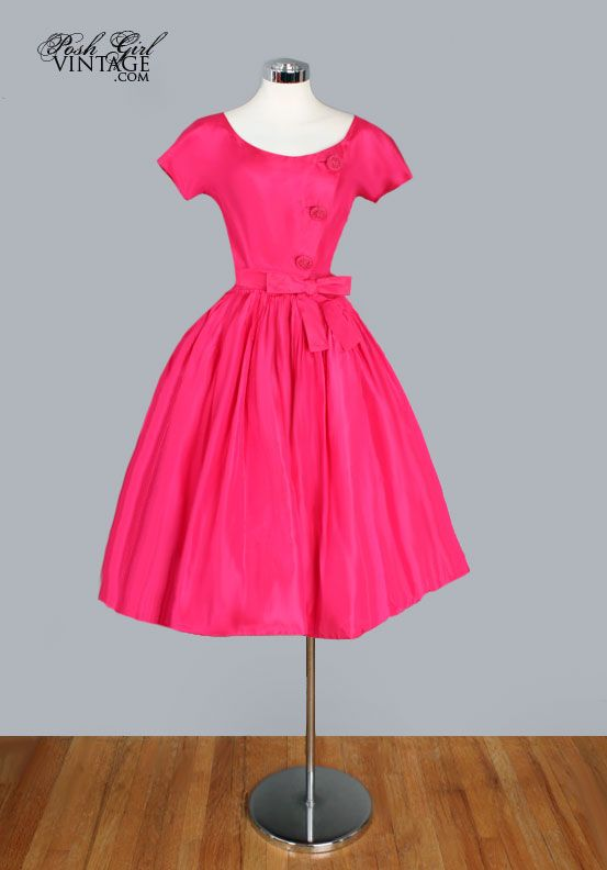 1950 S Fuchsia Silk Hannah Troy Designer Tea Length Dress