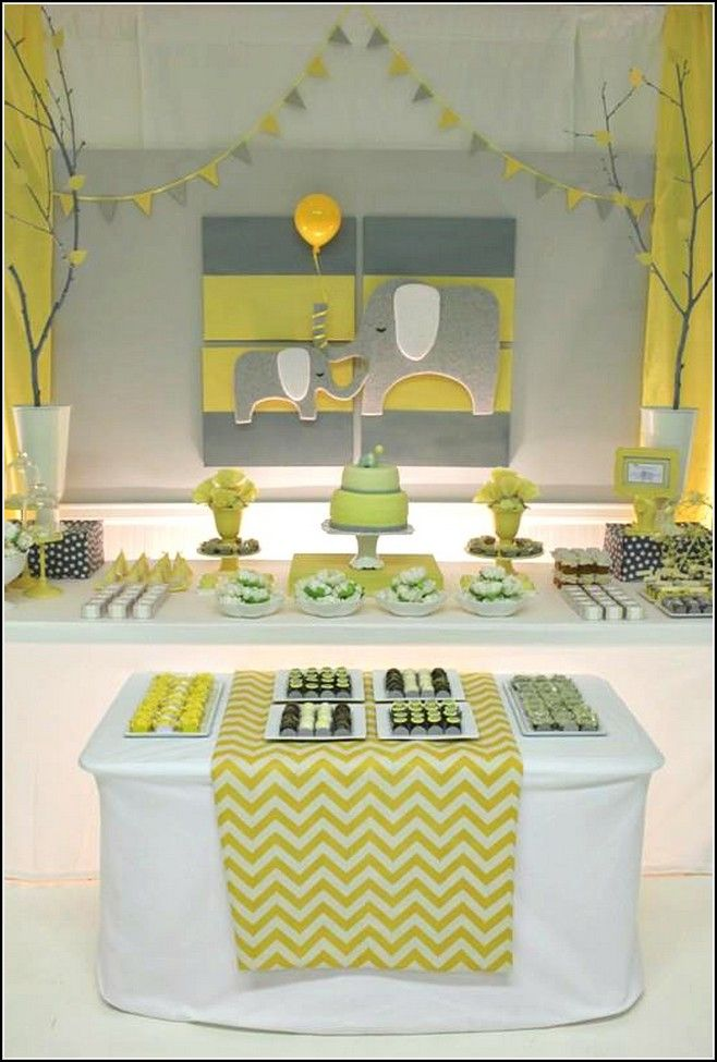 Yellow And Gray Elephant Baby Shower Decorations