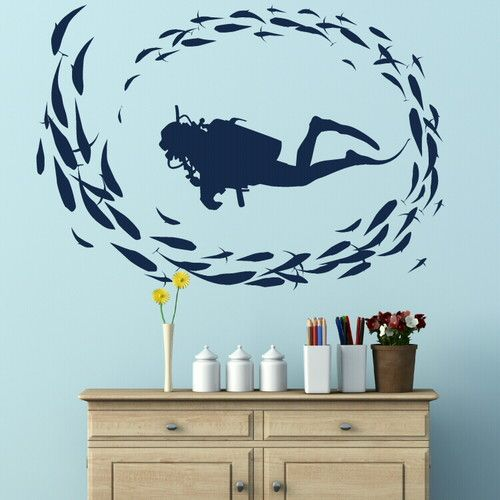Scuba Diver Interior Decor Wall Stickers Wall Decals Large ...