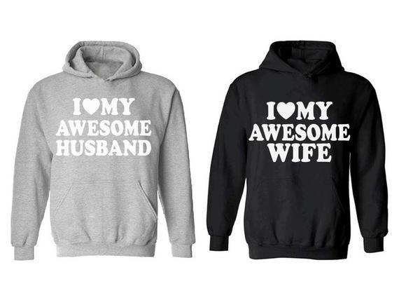 I Love My Awesome Husband Crewneck Wedding Couples Valentines Wife Sweatshirt