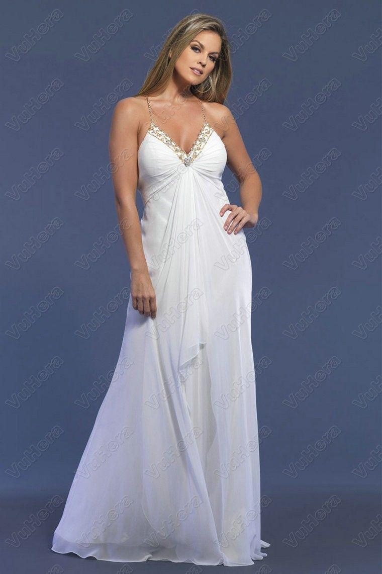 Spaghetti straps beaded chiffon white prom dress white prom