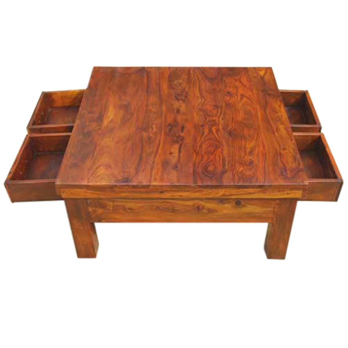 Classic Solid Wood 4 Drawers Square Storage Coffee Table Coffee
