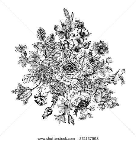 Floral Card Bouquet Of Roses Lily And Anemone Vintage Vector