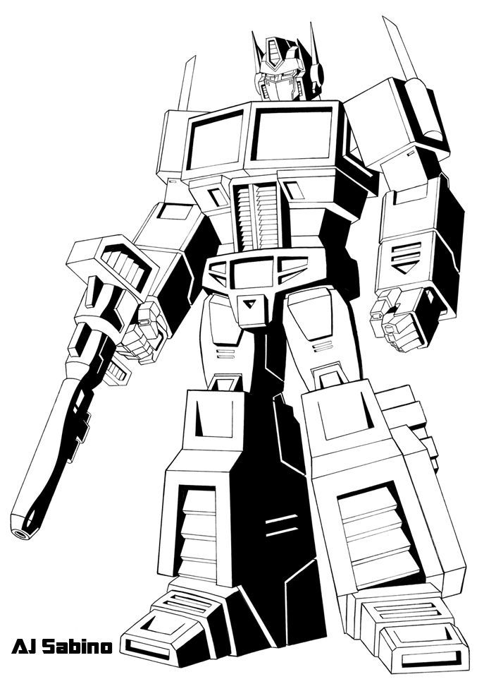 Optimus Prime Coloring Page Transformers