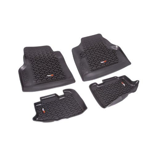 Amazon Com Rugged Ridge 12987 10 Black All Terrain Front And Rear Floor Liner Kit 4 Pieces Automotive Floor Liners 2006 Jeep Wrangler Wrangler Tj