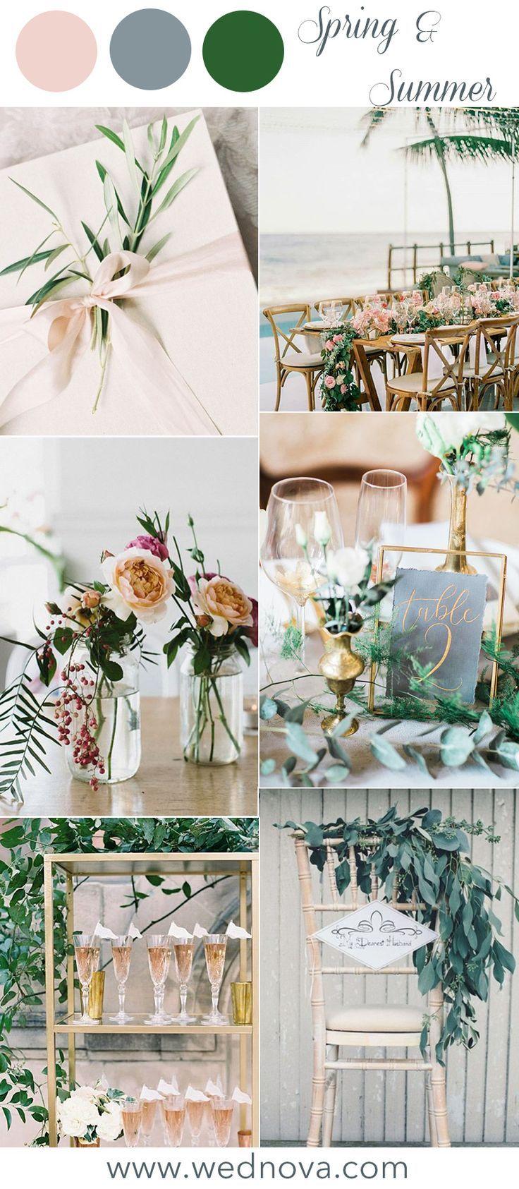 Lente Zomer bruiloft kleurenpalet groen bruiloft ideeën blozen stoffige blue4. Sp …