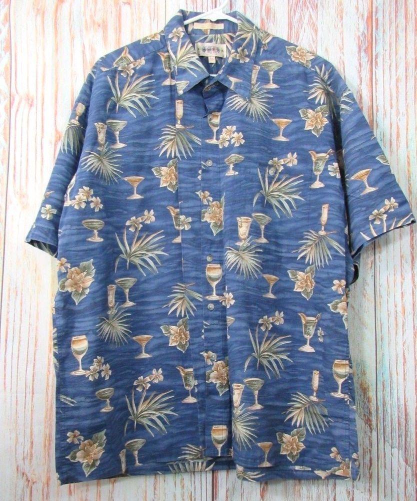 870a0450d Campia Moda Men's Sz XL Shirt Blue Hawaiian Vacation Short Sleeve Button  Front #CampiaModa #Hawaiian