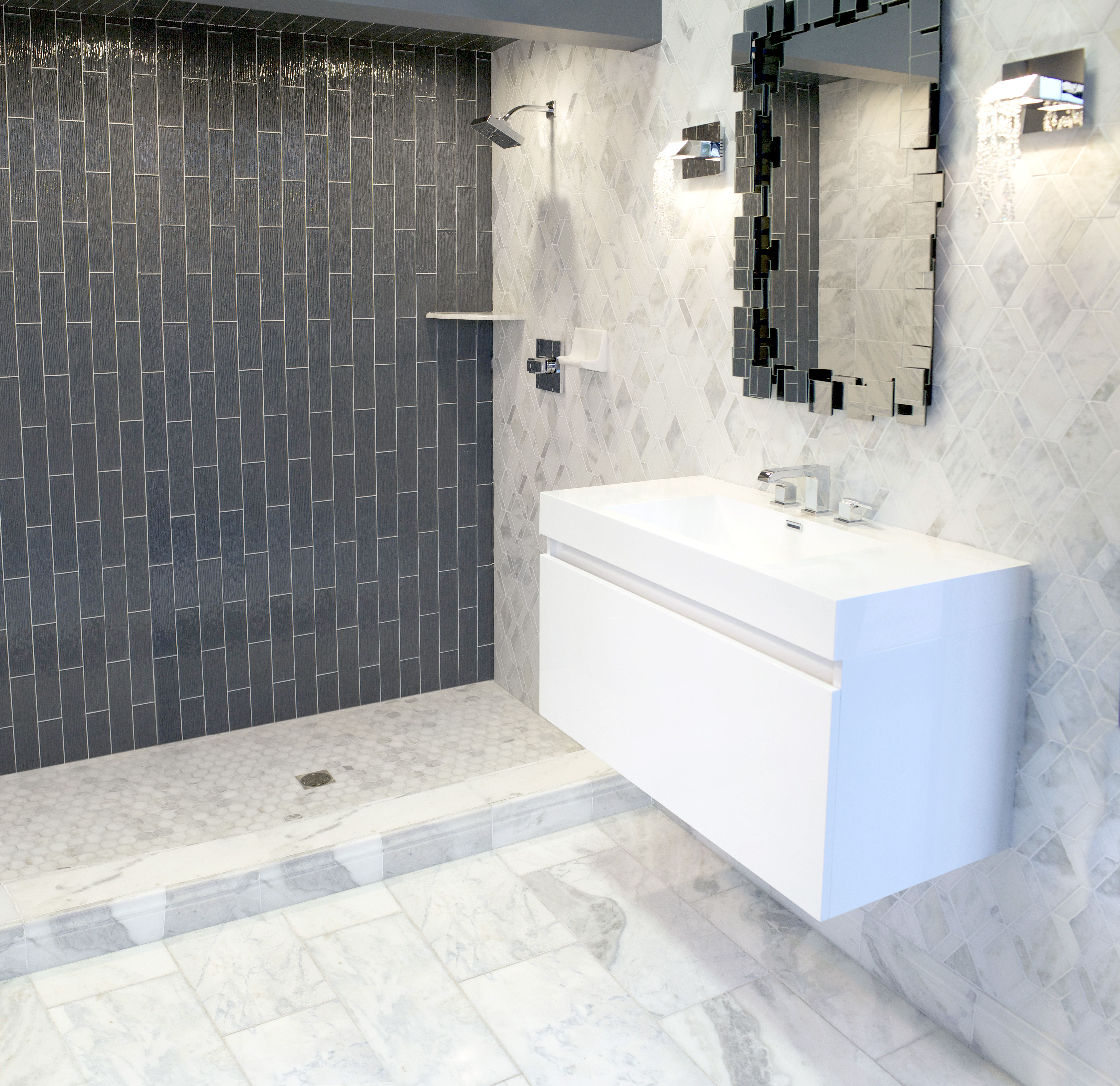 The Tempesta Neve Marble Collection Displayed Here With The Charcoal Rain Glass Wall Tile