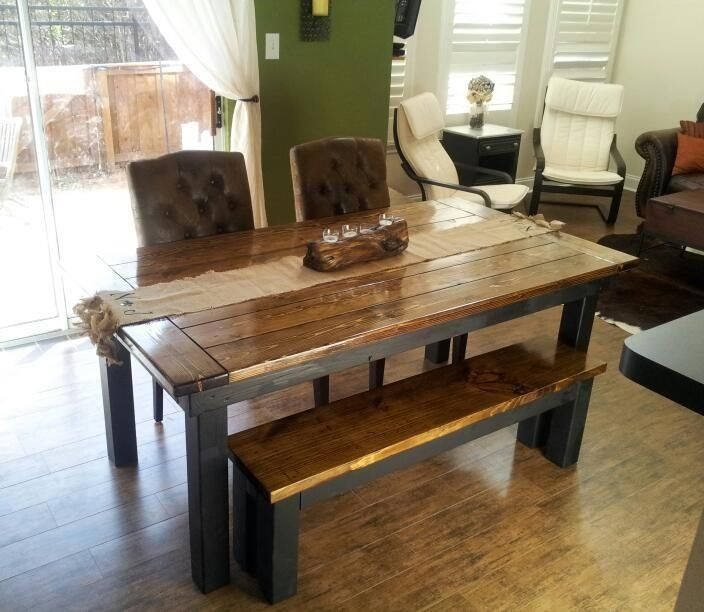 James 6 Farmhouse Table With Endcaps And Traditional Top Stained In Dark Walnut Stain A Black Painted Base Pictured Matching Bench