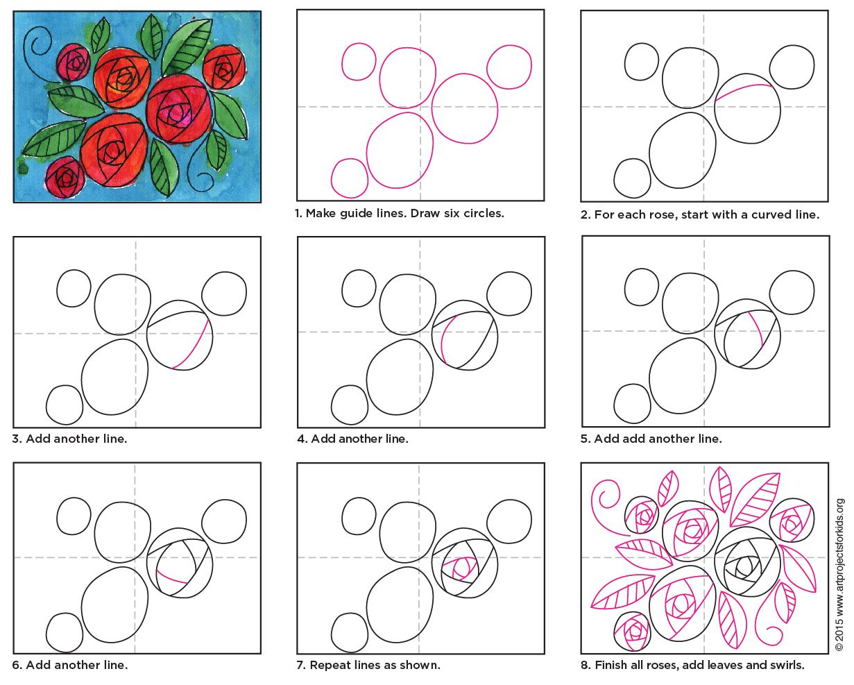 How to Draw a Rose for Kids Valentines art, Art lessons