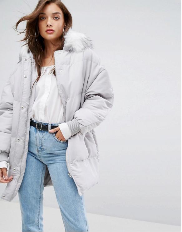 Kurtka Damska Szara Kurtka Ciepla Kurtka Moda Damska Stylizacja Zimowa Ootd Coat Puffer Coat Padded Coat