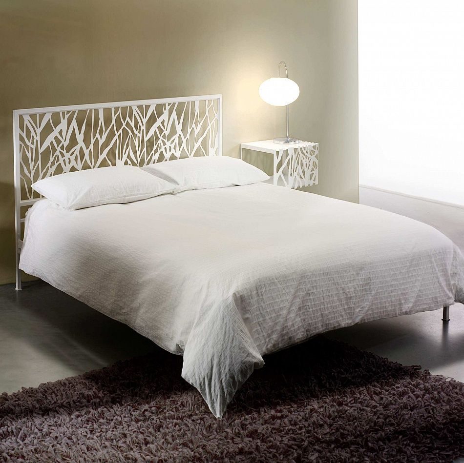 Best Wrought Iron Modern Bed With Unique Design Headboard Green 400 x 300