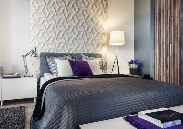 Attraktive Wandgestaltung Schlafzimmer 3d Wandpaneele Floral Motiv Weiss