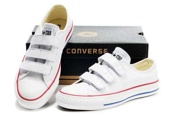49a010f7e65a White Converse Chuck Taylor All Star 3 Strap Velcro Low Tops Leather Sneaker