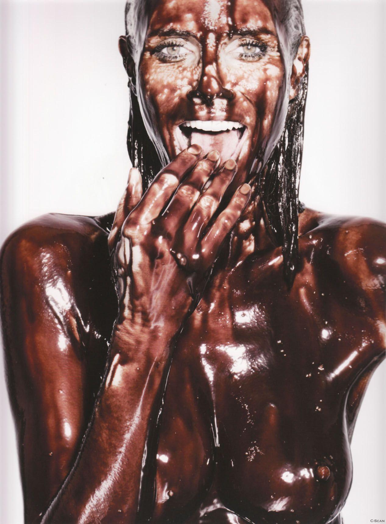 Girls naked in chocolate