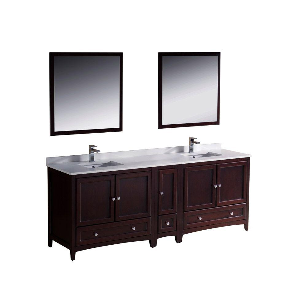 Fresca Oxford 84 In Double Vanity In Mahogany With Ceramic Vanity